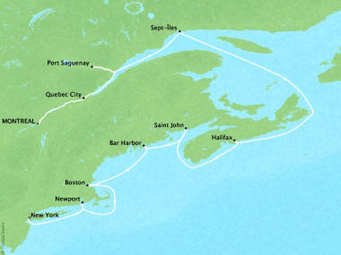 Cruises Oceania Insignia Map Detail Montreal, Canada to New York, NY, United States October 13-23 2018 - 10 Days