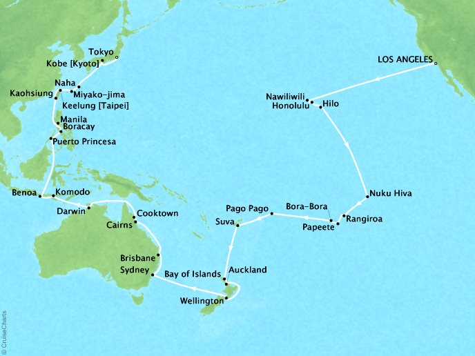Cruises Oceania Insignia Map Detail Los Angeles, CA, United States to Tokyo, Japan January 30 March 31 2019 - 59 Days