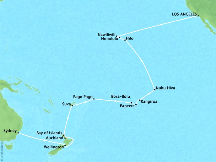 Cruises Oceania Insignia Map Detail Los Angeles, CA, United States to Sydney, Australia January 30 March 4 2019 - 34 Days