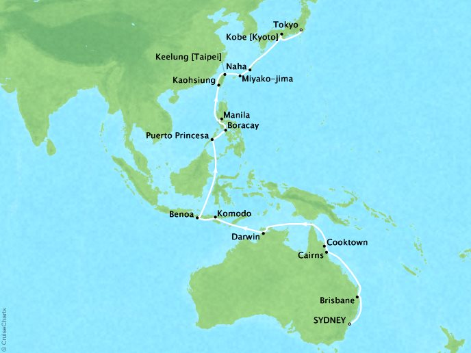 Cruises Oceania Insignia Map Detail Sydney, Australia to Tokyo, Japan March 4-31 2019 - 27 Days