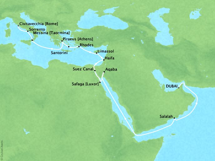 Cruises Oceania Insignia Map Detail Dubai, United Arab Emirates to Civitavecchia, Italy May 13 June 4 2019 - 22 Days