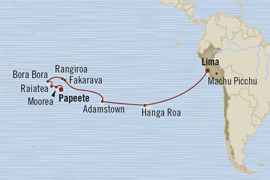 Singles Cruise - Balconies-Suites Oceania Marina April 11-28 2019 Papeete, French Polynesia to Callao, Peru