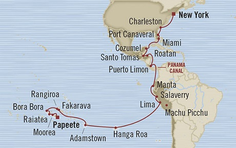 Singles Cruise - Balconies-Suites Oceania Marina April 11 May 14 2019 Papeete, French Polynesia to New York, NY, United States