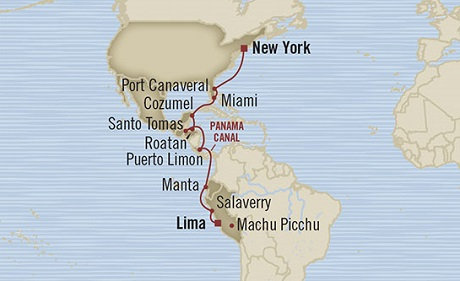 Singles Cruise - Balconies-Suites Oceania Marina April 28 May 14 2019 Callao, Peru to New York, NY, United States