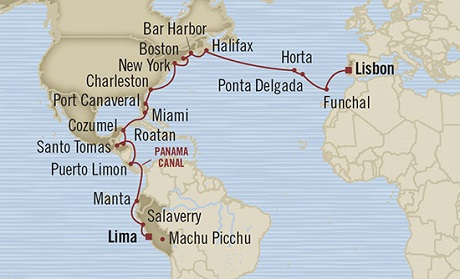 Singles Cruise - Balconies-Suites Oceania Marina April 28 May 28 2019 Callao, Peru to Lisbon, Portugal