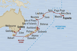 Singles Cruise - Balconies-Suites Oceania Marina February 23 March 25 2019 Sydney, Australia to Papeete, French Polynesia