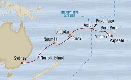 Singles Cruise - Balconies-Suites Oceania Marina February 4-23 2019 Papeete, French Polynesia to Sydney, Australia