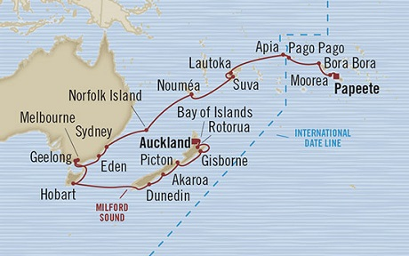 Singles Cruise - Balconies-Suites Oceania Marina February 4 March 9 2019 Papeete, French Polynesia to Auckland, New Zealand