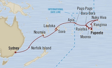 Singles Cruise - Balconies-Suites Oceania Marina January 25 February 23 2019 Papeete, French Polynesia to Sydney, Australia