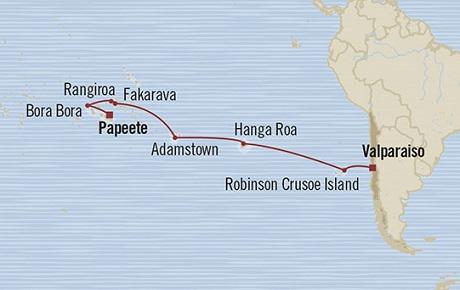 Singles Cruise - Balconies-Suites Oceania Marina January 7-25 2019 Valparaíso, Chile to Papeete, French Polynesia