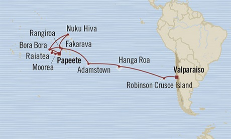 Singles Cruise - Balconies-Suites Oceania Marina January 7 February 4 2019 Valparaíso, Chile to Papeete, French Polynesia
