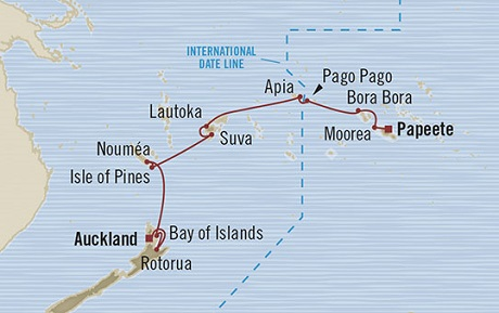 Singles Cruise - Balconies-Suites Oceania Marina March 9-25 2019 Auckland, New Zealand to Papeete, French Polynesia
