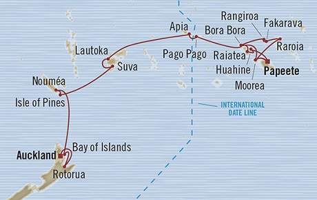 Singles Cruise - Balconies-Suites Oceania Marina March 9 April 4 2019 Auckland, New Zealand to Papeete, French Polynesia