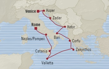 SINGLE Cruise - Balconies-Suites Oceania Marina November 1-11 2019 Venice, Italy to Civitavecchia, Italy
