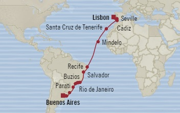 Singles Cruise - Balconies-Suites Oceania Marina November 21 December 19 2019 Lisbon, Portugal to Buenos Aires, Argentina