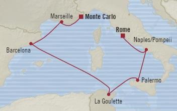 LUXURY CRUISE - Balconies-Suites Oceania Marina October 15-22 2019 Civitavecchia, Italy to Monte Carlo, Monaco