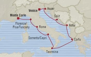 Singles Cruise - Balconies-Suites Oceania Marina October 22 November 1 2019 Monte Carlo, Monaco to Venice, Italy