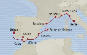 Singles Cruise - Balconies-Suites Oceania Marina October 5-15 2019 Lisbon, Portugal to Civitavecchia, Italy