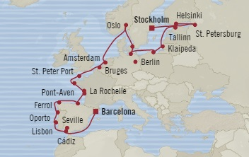 Singles Cruise - Balconies-Suites Oceania Marina September 3-27 2019 Stockholm, Sweden to Barcelona, Spain
