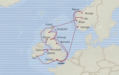 Cruises Oceania Marina Map Detail Southampton, United Kingdom to Southampton, United Kingdom July 21 August 13 2017 - 23 Days