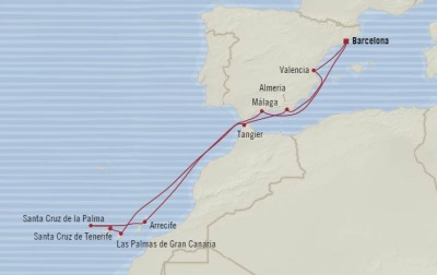 Cruises Oceania Marina Map Detail Barcelona, Spain to Barcelona, Spain November 21 December 3 2017 - 12 Days