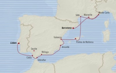Cruises Oceania Marina Map Detail Lisbon, Portugal to Barcelona, Spain October 6-16 2017 - 10 Days
