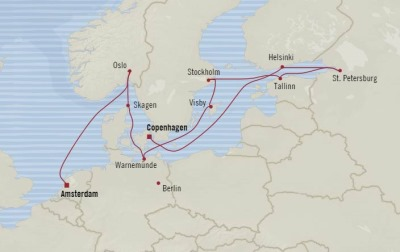 Cruises Oceania Marina Map Detail Copenhagen, Denmark to Amsterdam, Netherlands September 12-24 2017 - 12 Days