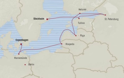 Cruises Oceania Marina Map Detail Stockholm, Sweden to Copenhagen, Denmark September 2-12 2017 - 10 Days