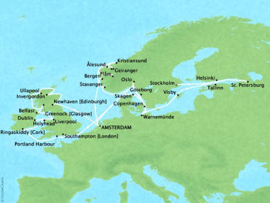 Cruises Oceania Marina Map Detail Amsterdam, Netherlands to Stockholm, Sweden July 14 August 19 2018 - 36 Days
