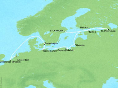 Cruises Oceania Marina Map Detail Stockholm, Sweden to Amsterdam, Netherlands July 2-14 2018 - 12 Days