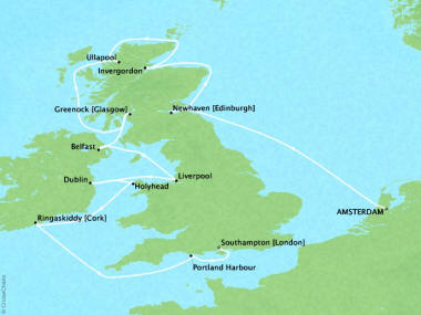 Cruises Oceania Marina Map Detail Amsterdam, Netherlands to Southampton, United Kingdom July 28 August 9 2018 - 12 Days