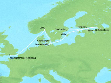 Cruises Oceania Marina Map Detail Southampton, United Kingdom to Stockholm, Sweden June 2-12 2018 - 10 Days