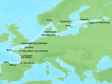 Cruises Oceania Marina Map Detail Southampton, United Kingdom to Stockholm, Sweden May 23 June 12 2018 - 20 Days