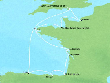 Cruises Oceania Marina Map Detail Southampton, United Kingdom to Southampton, United Kingdom May 23 June 2 2018 - 10 Days