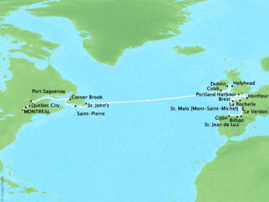 Cruises Oceania Marina Map Detail Montreal, Canada to Southampton, United Kingdom May 8 June 2 2018 - 25 Days