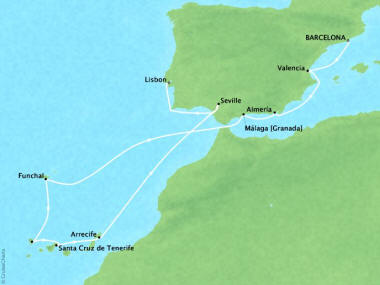 Cruises Oceania Marina Map Detail Barcelona, Spain to Lisbon, Portugal November 16-28 2018 - 12 Days