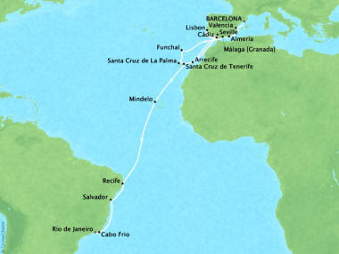 Cruises Oceania Marina Map Detail Barcelona, Spain to Rio De Janeiro, Brazil November 16 December 14 2018 - 28 Days