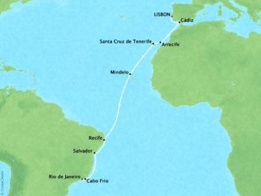 Cruises Oceania Marina Map Detail Lisbon, Portugal to Rio De Janeiro, Brazil November 28 December 14 2018 - 16 Days