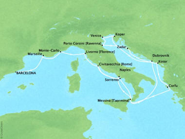 Cruises Oceania Marina Map Detail Barcelona, Spain to Civitavecchia, Italy October 16 November 2 2018 - 17 Days