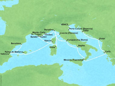 Cruises Oceania Marina Map Detail Venice, Italy to Barcelona, Spain October 26 November 16 2018 - 21 Days