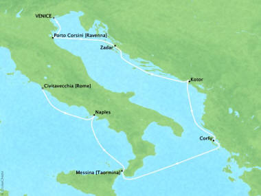 Cruises Oceania Marina Map Detail Venice, Italy to Civitavecchia, Italy October 26 November 2 2018 - 7 Days