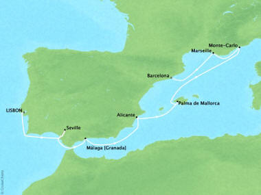 Cruises Oceania Marina Map Detail Lisbon, Portugal to Barcelona, Spain October 9-16 2018 - 7 Days