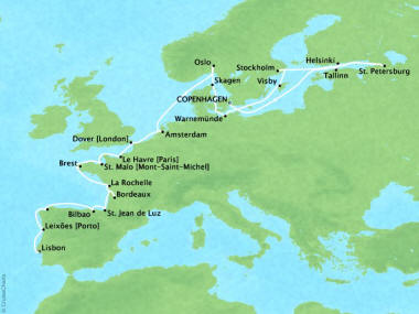 Cruises Oceania Marina Map Detail Copenhagen, Denmark to Lisbon, Portugal September 15 October 9 2018 - 24 Days