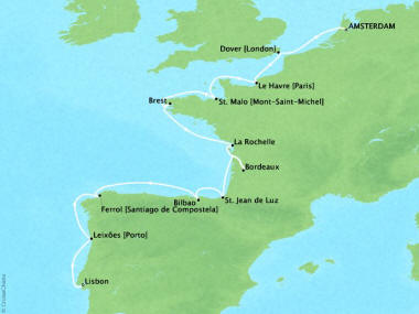 Cruises Oceania Marina Map Detail Amsterdam, Netherlands to Lisbon, Portugal September 27 October 9 2018 - 12 Days