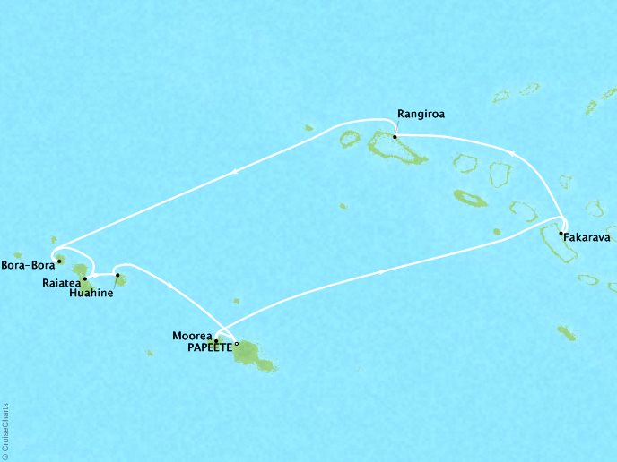 Cruises Oceania Marina Map Detail Papeete, French Polynesia to Papeete, French Polynesia January 21-31 2019 - 10 Days