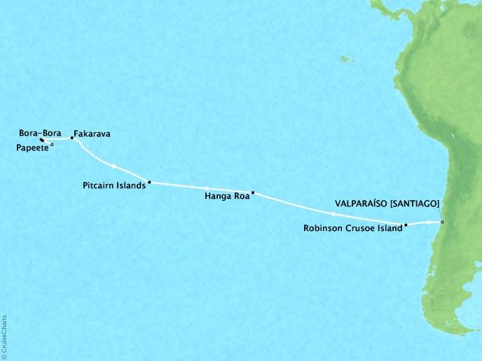 Cruises Oceania Marina Map Detail Valparaíso, Chile to Papeete, French Polynesia January 3-21 2019 - 18 Days