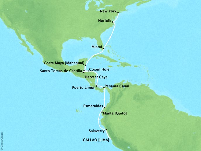 Cruises Oceania Marina Map Detail Callao, Peru to New York, NY, United States March 18 April 5 2019 - 18 Days