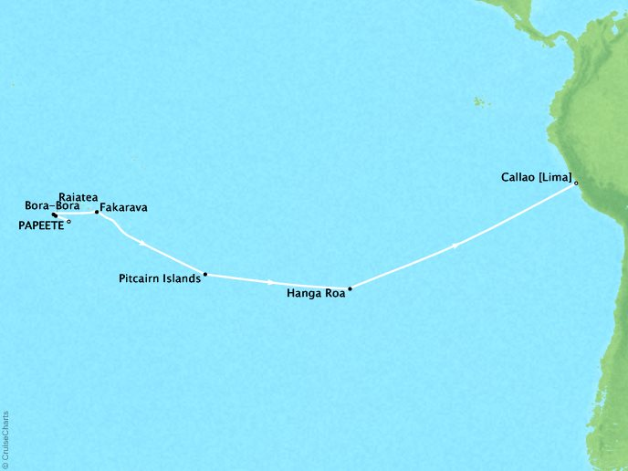 Cruises Oceania Marina Map Detail Papeete, French Polynesia to Callao, Peru March 2-18 2019 - 16 Days