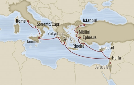 Singles Cruise - Balconies-Suites Oceania Nautica April 28 May 10 2019 Istanbul, Turkey to Civitavecchia, Italy