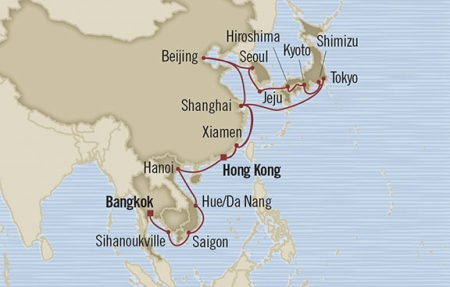 Singles Cruise - Balconies-Suites Oceania Nautica February 13 March 24 2019 Laem Chabang, Thailand to Hong Kong, Hong Kong